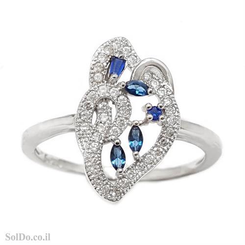 טבעת מכסף משובצת אבני זרקון כחולות ולבנות RG1628 | תכשיטי כסף 925