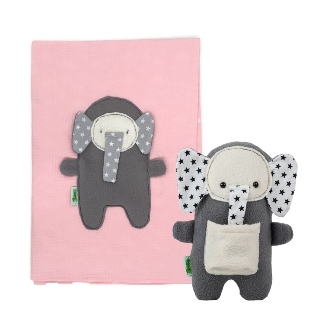 סט מתנה, סער הפיל: שמיכת קיץ אוורירית לתינוק ובובת התפתחות (ניתן לבחור את צבע השמיכה)