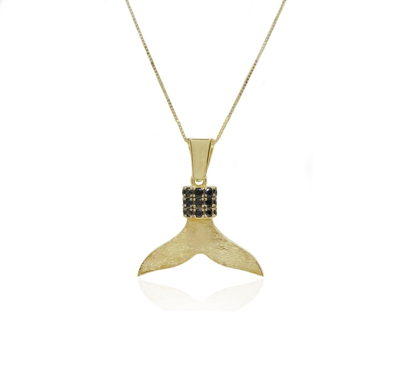 שרשרת סנפיר זהב עם זרקונים שחורים לגבר
