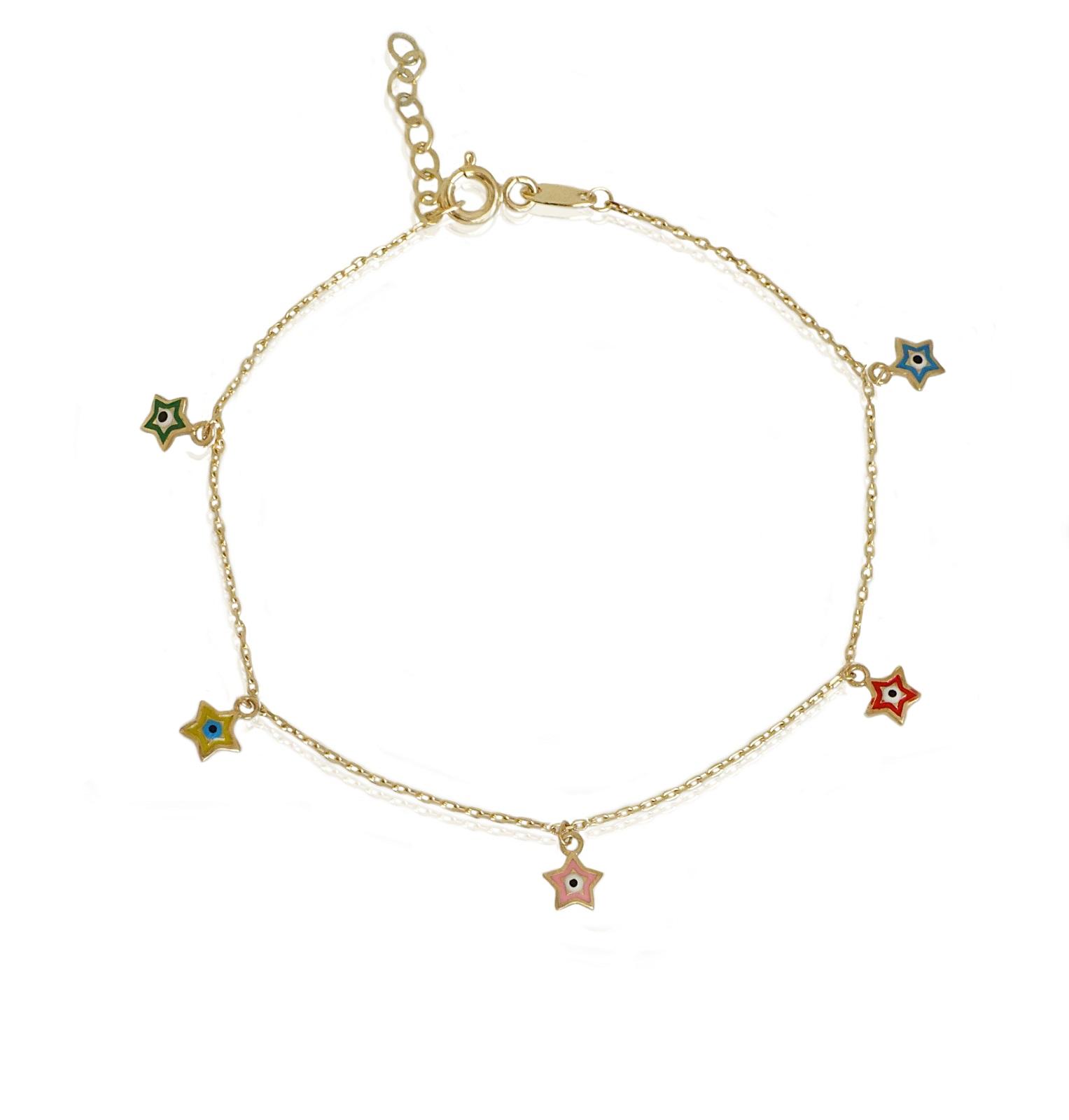 צמיד זהב לרגל עם כוכבים צבעוניים