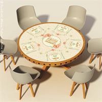 מפת שולחן פיויסי דקורטיבית עגולה ל-שולחנות מעוצבים