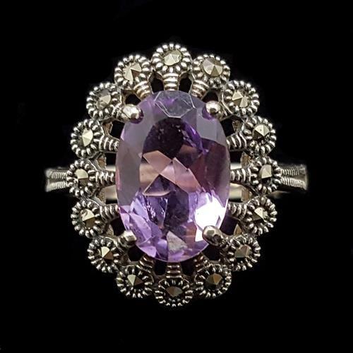 טבעת כסף משובצת מרקזטים ואבן אמטיסט סגולה RG1473 | תכשיטי כסף 925 | טבעות כסף