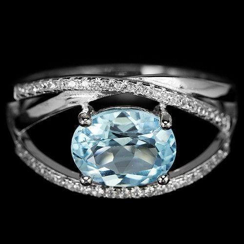 טבעת כסף משובצת טופז כחול וזרקונים RG8333 | תכשיטי כסף 925 | טבעות כסף