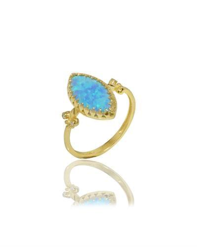טבעת זהב 14 קראט אופל מרקיזה ויהלומים