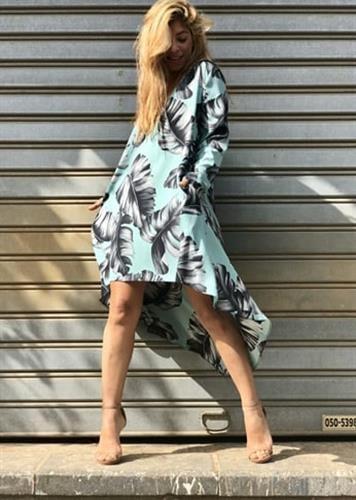 שמלת סלינה פרחוני טורקיז