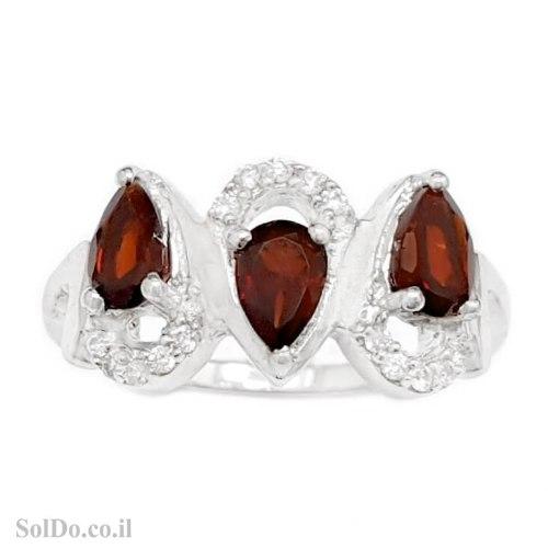 טבעת מכסף משובצת אבני גרנט ואבני זרקון RG1696 | תכשיטי כסף 925 | טבעות כסף