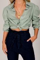 חולצת איימי  שחור/ירוק/לבן