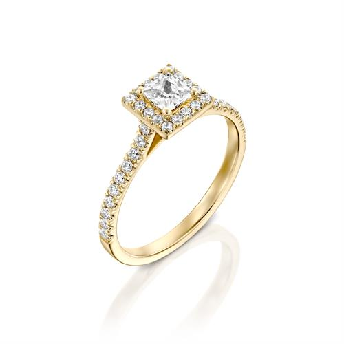 טבעת אירוסין זהב צהוב 14 קראט משובצת יהלומים PRINCES HALOW
