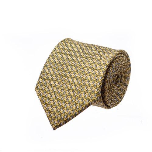 עניבה דגם מיקרופון קטן צהוב אפור