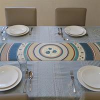 ראנר מעוצב לשולחן - דגם רימונים טורקיז, עשוי פיויסי - דוגמא