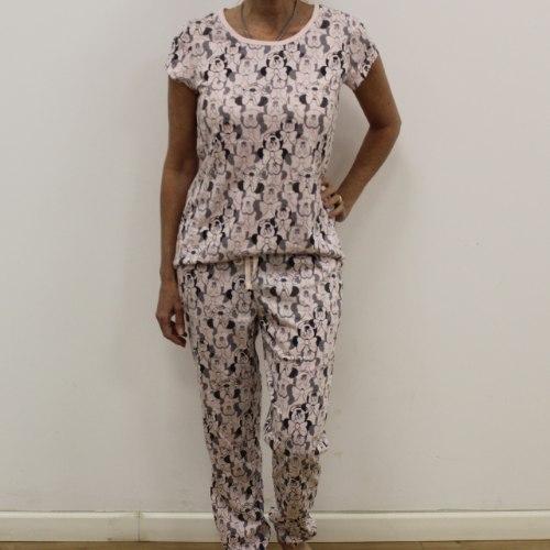 פיג'מה נשים חולצה קצרה הדפס בורוד