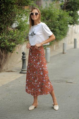 חצאית מעטפת פרח חום וינטג'
