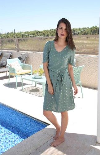 שמלת רונה ירוקה כהה