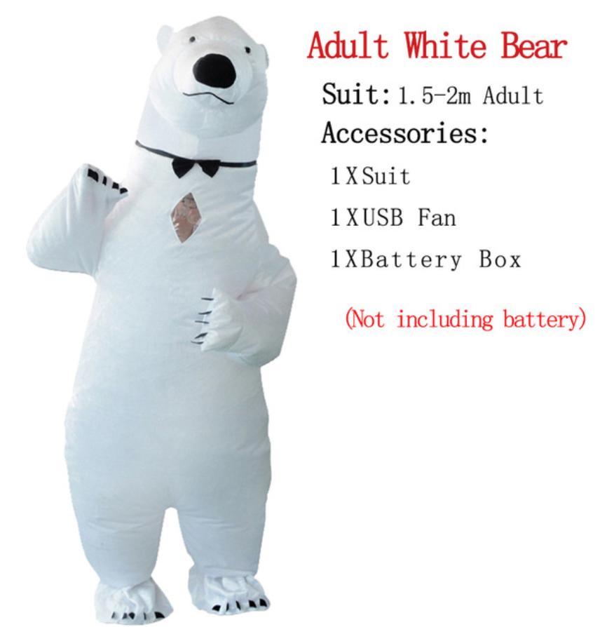 תחפושת מתנפחת - דגם דוב לבן