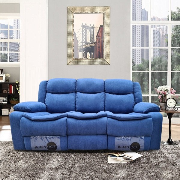 ספה 3 מושבים ג'ק מרלו (בד כחול)