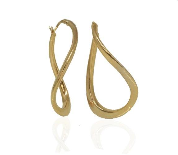 עגילי חישוק זהב | עגילי זהב א- סימטרי | עגילי זהב לאישה גדולים