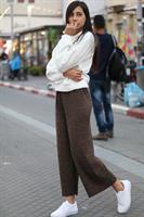 מכנסיים טקסטורת פסים שרוך קשירה