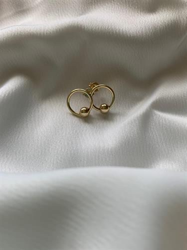 עגילי חישוק עיגול זהב 14 קראט