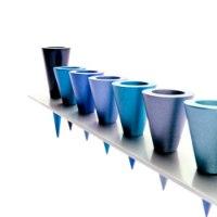 חנוכיה - פס מתכת + קונוסים - כחול
