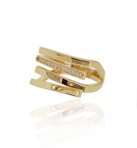 טבעת זהב עם שורת זרקונים