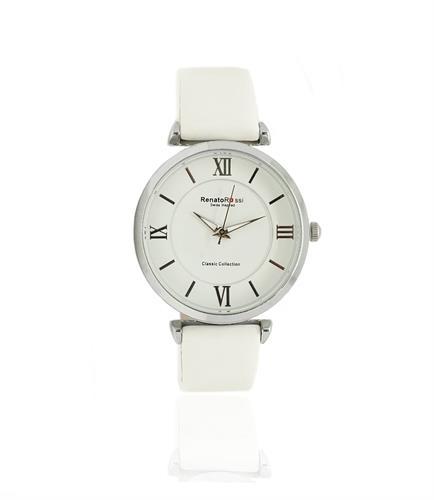 """שעון לבן לנשים עם רצועת עור """"renato rossi"""""""