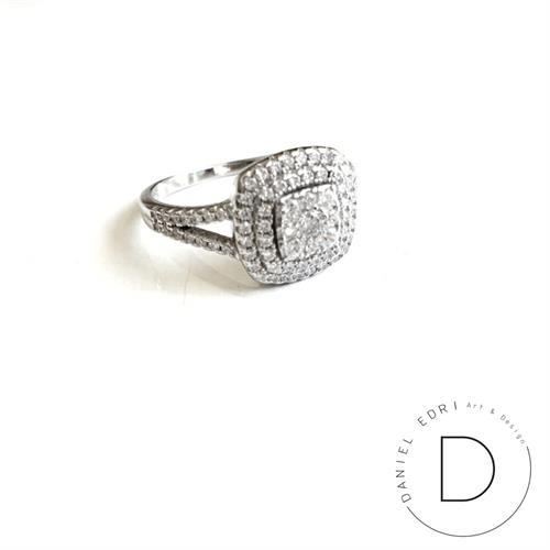 טבעת זרקונים ריבוע כפול- כסף 925