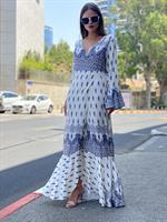 שמלה אתני מעטפה כחול