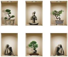 שישיית מדבקות נישה כוורת פסלים שחורים ועציצי בונסאי דגם 600