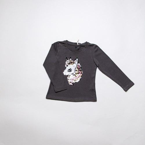 חולצת לייקרה חד קרן אפורה בנות