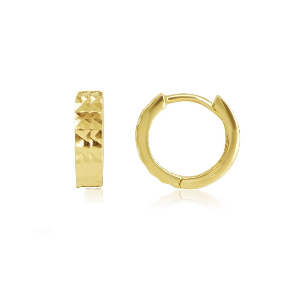 """עגילי חישוק זהב חצי חריטת לייזר קטנים 1.2 ס""""מ"""