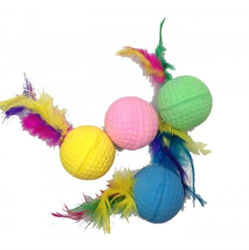 4 כדורים עם נוצה משחק לחתולים