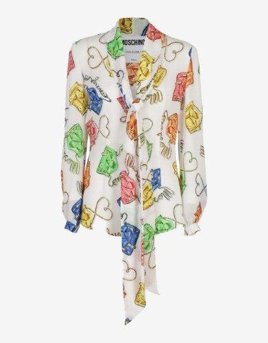 חולצת משי Moschino ,תיקים ולבבות
