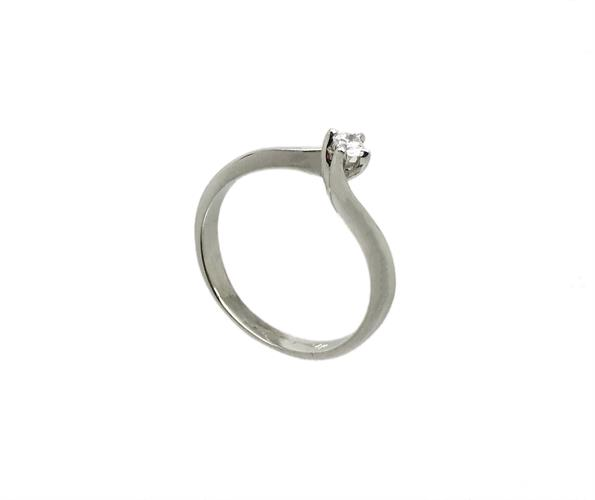 טבעת אירוסין זהב לבן 14K יהלום מרכזי OP09160068908
