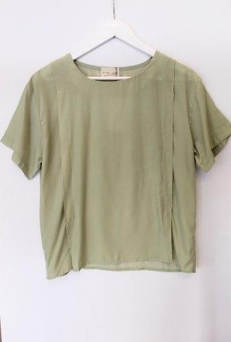 חולצת משי ירוק מנטה