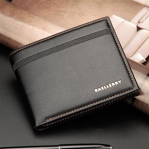 Men's Leather Bifold ID Card Holder Wallet Billfold Short Cash Coin Purse Clutch