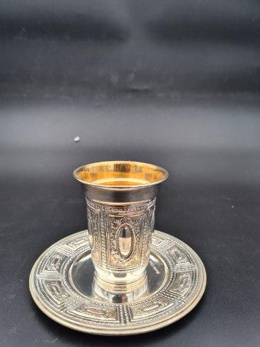 כוס קידוש וצלחת ציפוי כסף טהור מבית מורשת