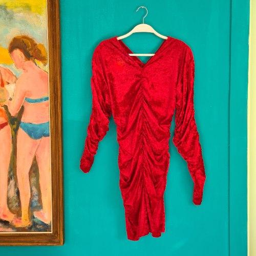 שמלת קטיפה מיני אדומה XS/S