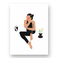 """אשה יושבת ולצידה מונחת כוס  קפה ׳לקחת׳ - מתוך """"החיים יפים"""", הסדרה האופטימית"""