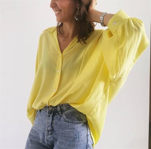 חולצת פולי פריזאית - צהובה