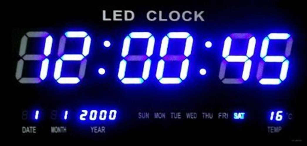 שעון קיר דיגיטלי LED חשמלי כחול TTN6830 Pearl