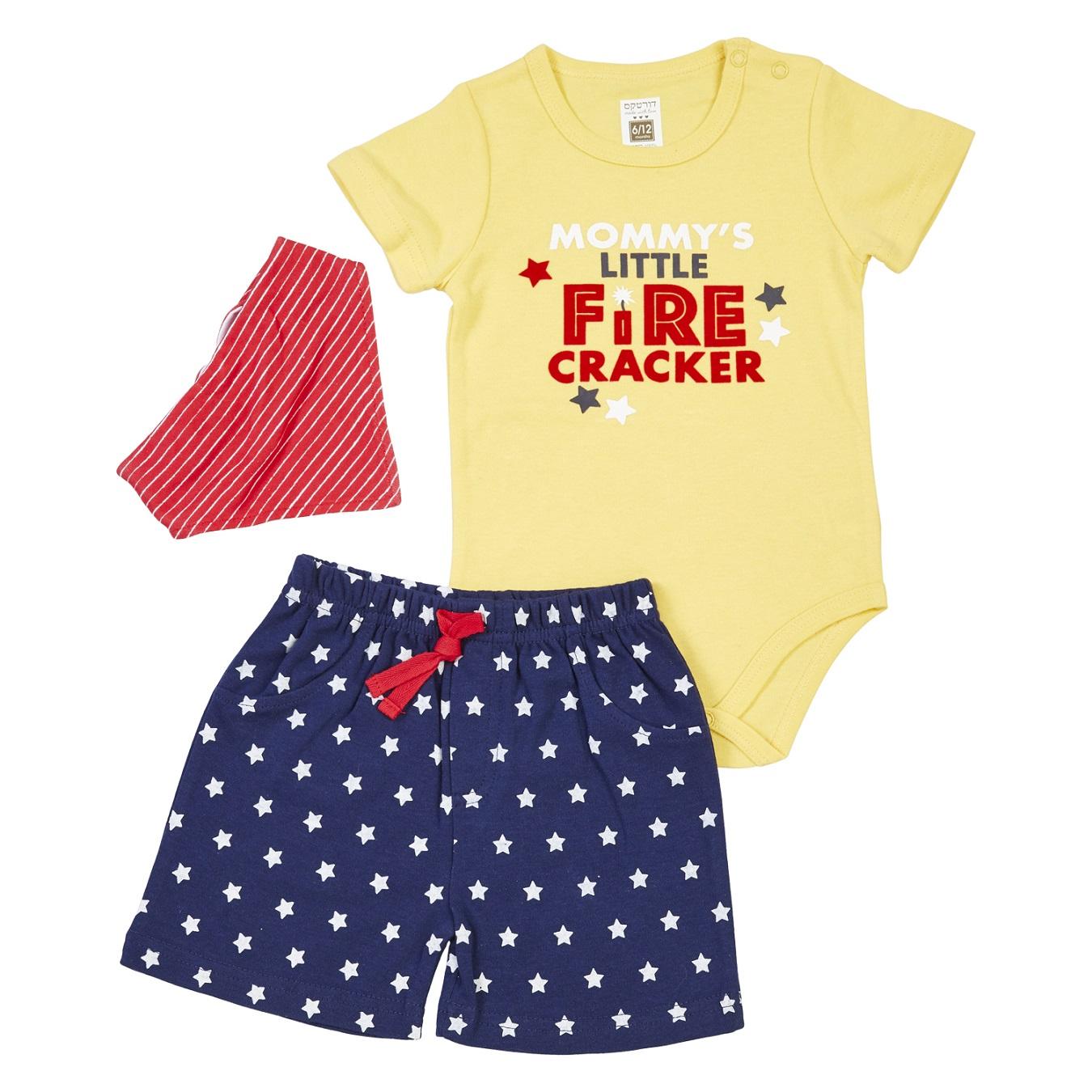 חליפת בגד גוף מכנס כוכבים צהוב + סינר בנדנה