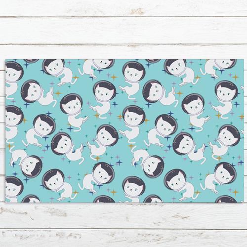 שטיח PVC | דגם חתולים רקע טורקיז