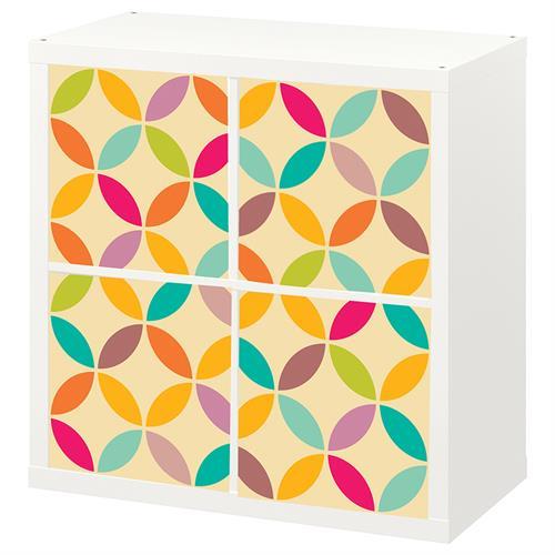 4 יח' טפט להדבקה על דלת כוורת  (KALLAX)- צורות גאומטריות