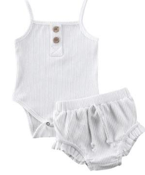 סט בנות בגד גוף ומכנס מלמלה לבן
