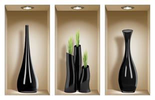 אגרטלים שחורים עם עשב ירוק דגם 320