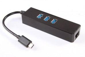 מפצל בעל 3 חיבורי USB 3.0 מחיבור USB 3.0 Type-C לחיבור רשת Gold Touch RJ45