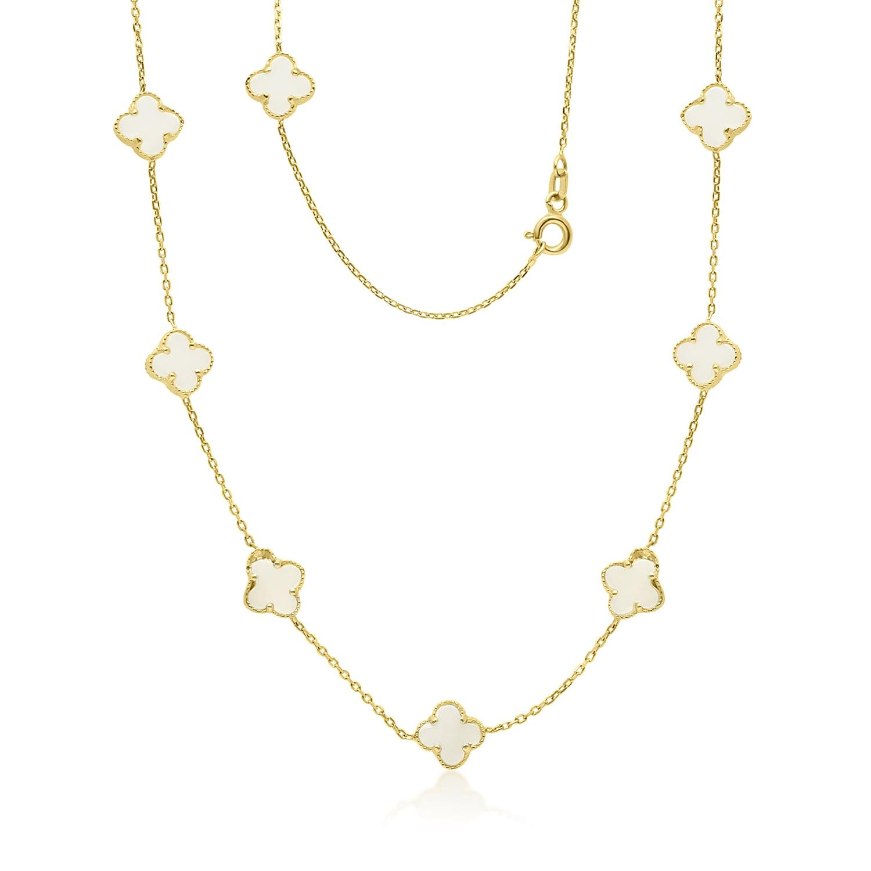 שרשרת זהב עם אבני תלתן מונסטון טבעיות