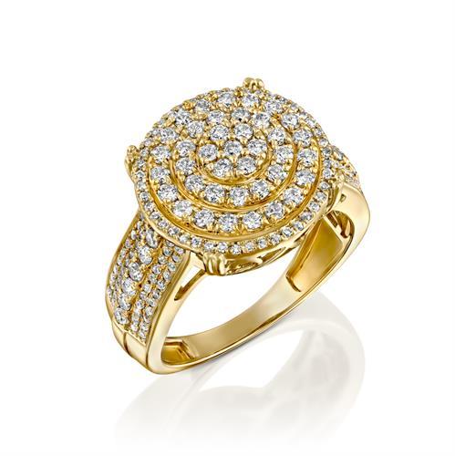 טבעת השראת היהלום משובצת 1 קראט יהלומים בזהב צהוב