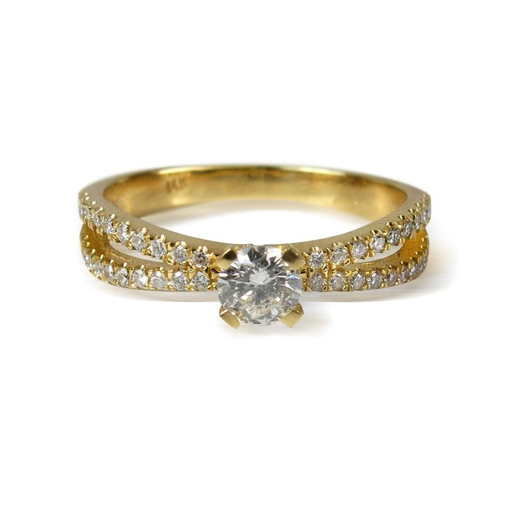 טבעת זהב 14K משובצת יהלומים 0.60CT