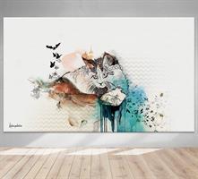 קנבס גדול עם ציור של חתול